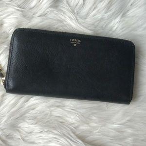 Fossil black leather zip around wallet